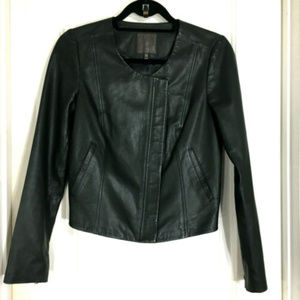 Joie Emelyn Black Sheep Leather Peplum Moto Jacket